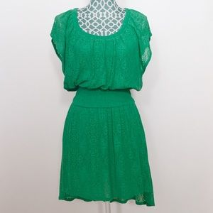 Anthropologie Leifnotes Green Lace Smocked Dress